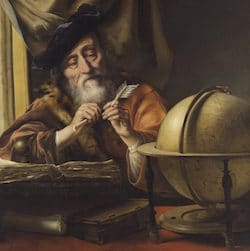 A classic old oil painting of a man studying a globe